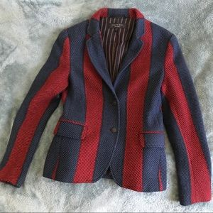 Rag & Bone Wine/Blue Stripe Wool Blazer